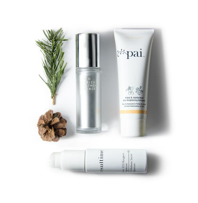 RMK Barrier Treatment, Pai Skincare Kukui Exfoliator, Resultime SOS Serum